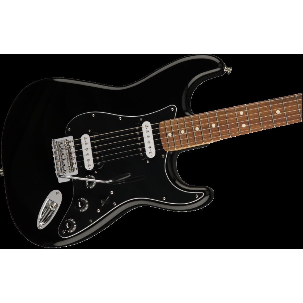 fender standard dual humbucker stratocaster electric guitar in black mim. Black Bedroom Furniture Sets. Home Design Ideas