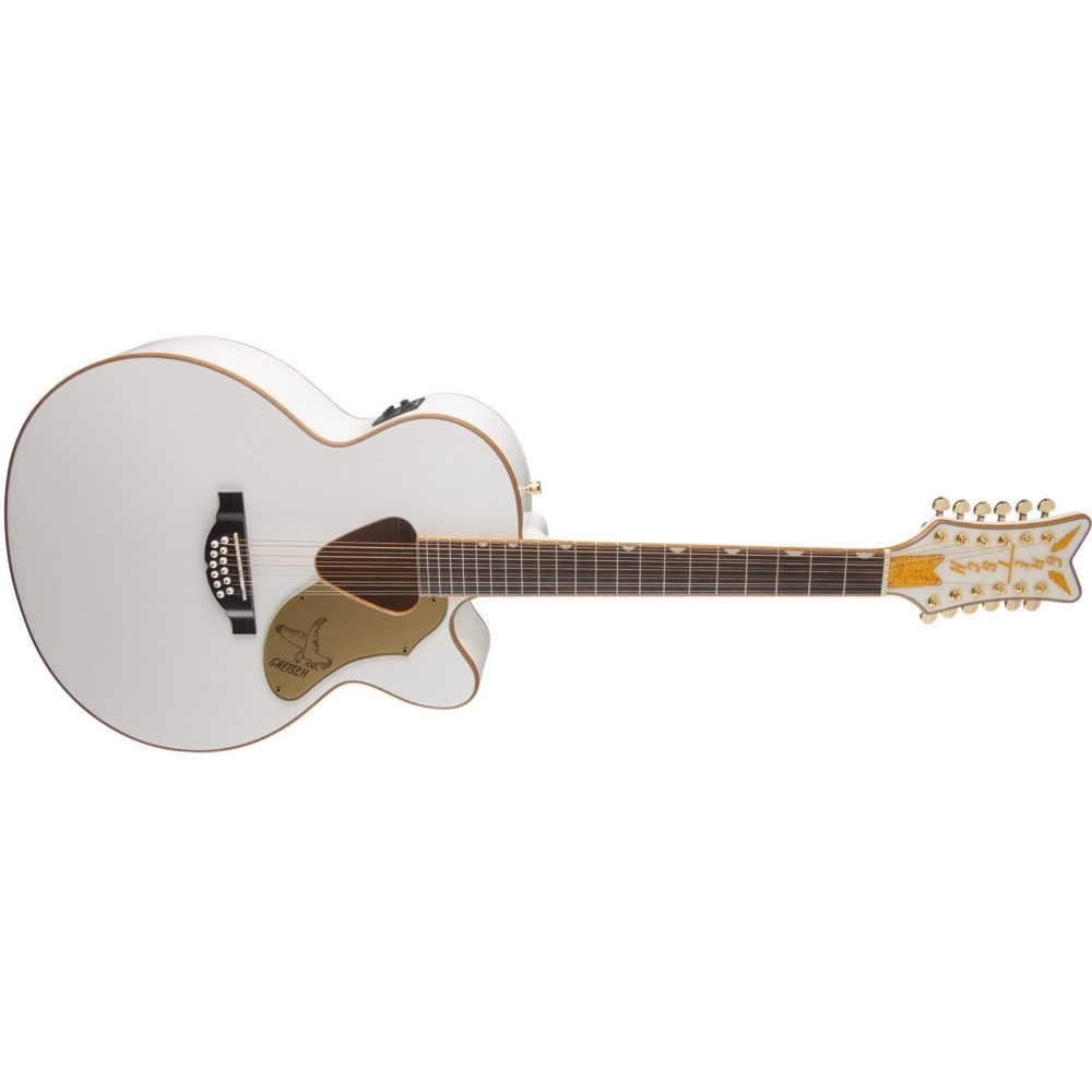 gretsch g5022cwfe 12 white falcon 12 string acoustic electric guitar demo. Black Bedroom Furniture Sets. Home Design Ideas