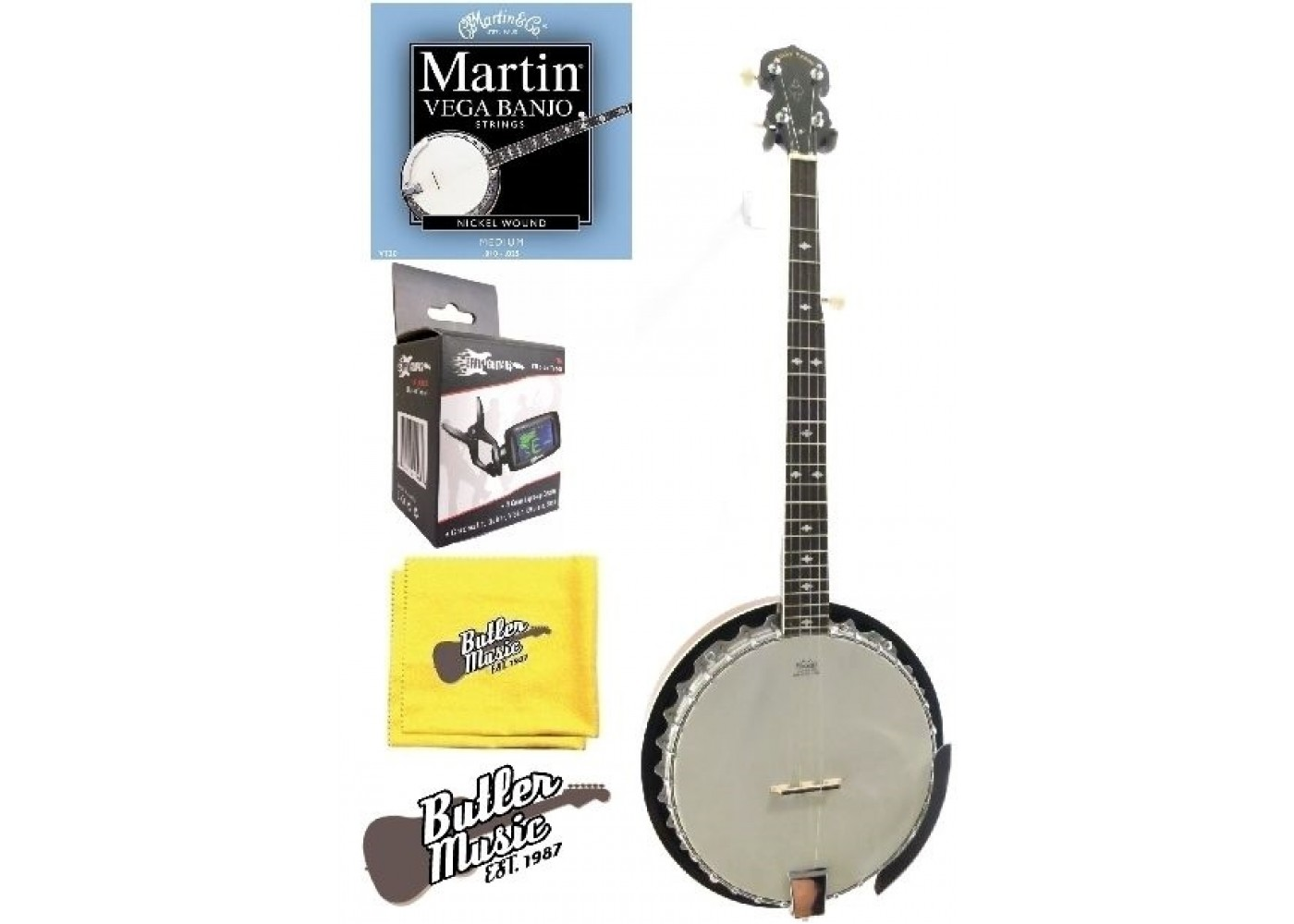 Lucky Penny B5-DL Deluxe 5 String Resonator Banjo with Martin Strings and  More