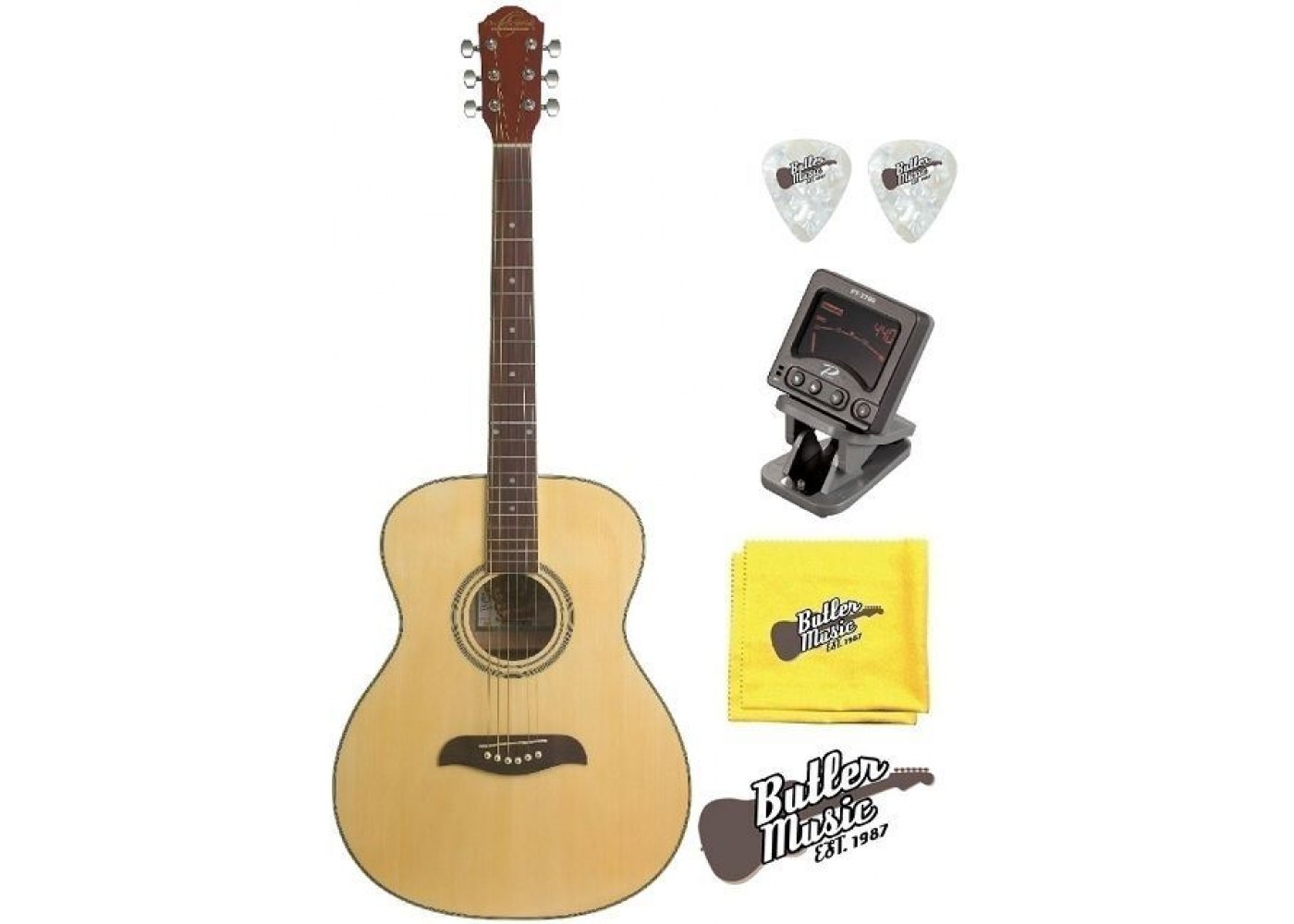 oscar schmidt oan natural auditorium size acoustic guitar tuner plus more bundle. Black Bedroom Furniture Sets. Home Design Ideas
