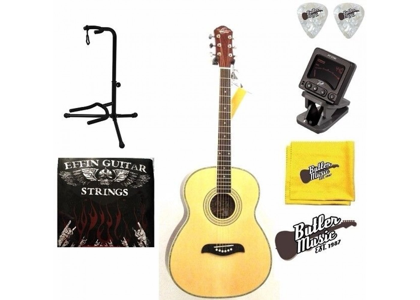 oscar schmidt of2 guitar acoustic folk size guitar w picks strings more. Black Bedroom Furniture Sets. Home Design Ideas