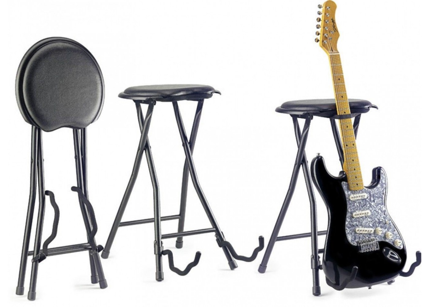 Stagg Model GIST-300 Foldable Stage Insturment Stool with Built in Guitar  Stand