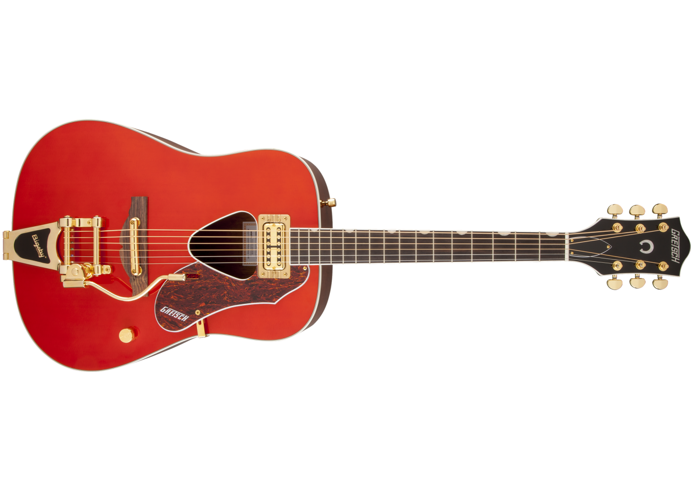 Gretsch Acoustic Guitars >> Gretsch G5034tft Red Rancher Bigsby And Fideli Tron Acoustic Electric Guitar
