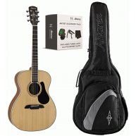 Alvarez AF60AGP Solid Top Folk Acoustic Guitar Bundle with Bag, Tuner, and