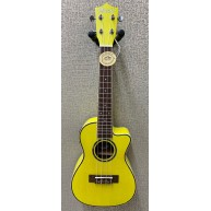 Amahi UK-205 EQ Acoustic Electric Concert Ukulele w/Built-In Tuner - Yellow