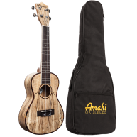 Amahi UK770C Concert Size Spalted Maple Acoustic Ukulele with Gig Bag