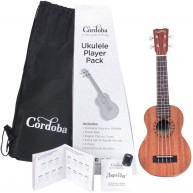 Cordoba UP-1S Soprano Size Ukulele Player Pack with Clip On Tuner and More