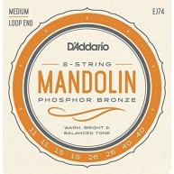 Set of D'Addario EJ74 Phosphor Bronze Mandolin Strings, Medium, 11-40