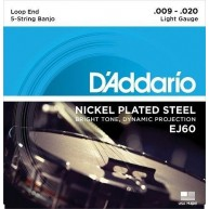 Set of D'Addario model EJ60 5-String Banjo strings , Nickel, Light, 9-20