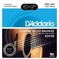 D'Addario EXP36 80/20 Bronze 12-String Coated Acoustic Guitar Strings Lite