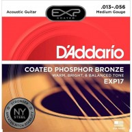 D'Addario EXP17 Coated Phosphor Acoustic Guitar Strings, Coated, Medium, 13