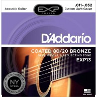 D'Addario EXP13 80/20 Bronze Acoustic Guitar Strings,Coated, Custom Light,