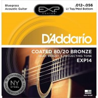 D'Addario EXP14 80/20 Bronze Acoustic Guitar Strings, Coated, Bluegrass, 12