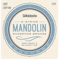 Set of D'Addario EJ73 Phosphor Bronze Mandolin Strings, Light, 10-38