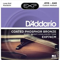 D'Addario EXP74CM Coated Phosphor Bronze Mandolin Strings Custom Medium 11.