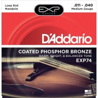 D'Addario EXP74 Coated Phosphor Bronze Mandolin Strings, Medium, 11-40