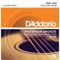 D'Addario EJ15 Phosphor Bronze, Extra Light 10-47 Acoustic Guitar Strings