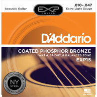 D'Addario EXP15 Phosphor Bronze Acoustic Guitar Strings, Coated, Extra Ligh