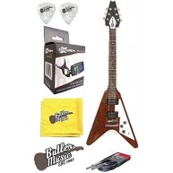 Effin Guitars FV/MA V Shaped Natural Electric Guitar, Tuner Cable, and More