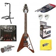 Effin Guitars FV/MA V Shape Natural Electric, Tuner, Cable, Stand, More Bun