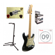 Effin Guitars Oldstart/BK Black Gloss Deluxe Electric Guitar Player Pack