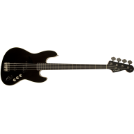 Fender Aerodyne Jazz Bass, Rosewood Stained Fingerboard, Black, No Pickguar