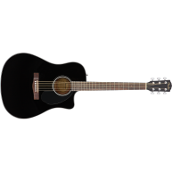 Fender CD-60SCE BK Acoustic Electric Cutaway Dreadnought Guitar Walnut Fret