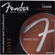 Fender 7250 5 String Bass Strings, Nickel Plated Steel, Long Scale, .045-.1