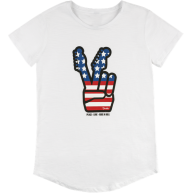Fender Women's American Flag 4th of July Peace Sign T-Shirt, XL #9127419606