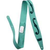 Gretsch® Logo F-Holes Leather Guitar Strap, Surf Green & Dark Green, 3""