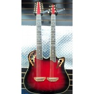 Used Ovation Celebrity Double Neck Acoustic-Electric Guitar Ruby Red Burst