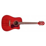 Guild D-120CE Acoustic Electric Solid Wood Cherry Red Guitar with Polyfoam