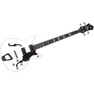 Hagstrom Viking Bass Semi-Hollow Electric Guitar White VIKB-WHT-U