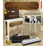 "Hohner ""STARS & STRIPES"" Harmonica in the Key of C Harp in a 4 color box"