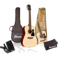 Ibanez IJV30 3/4 Size Acoustic Guitar Quickstart Jampack with Bag and More