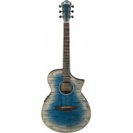Ibanez AEWC32FMGBL Glacier Blue Gloss Acoustic Electric Flame Maple Top Gui