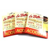 3 sets of LaBella 40PS Golden Alloy - Light Acoustic Guitar Strings 12-52