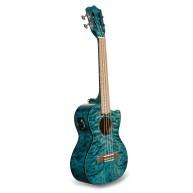 Lanikai QM-BLCET Blue Quilt Maple Electric Acoustic Tenor Ukulele With Bag