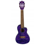 Lanikai Quilted Maple Purple Stain Concert A/E Ukulele with Polyfoam Hard C