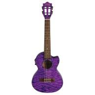 Lanikai Quilted Maple Purple Stain Tenor Electric Ukulele w/ Polyfoam hard