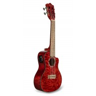 Lanikai Model QM-RDCEC Quilted Maple Red Cutaway Electric Acoustic Concert