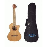 Lanikai CDST-CET Acoustic Electric Solid Cedar Top Tenor Cutaway Ukulele w/