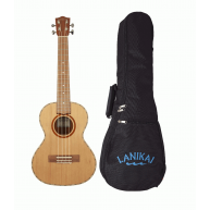 Lanikai CDST-T Solid Cedar Top Satin Finish Tenor Ukulele with Padded Gig B