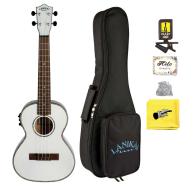 Lanikai Julia Michaels White Acoustic Electric Tenor Ukulele w/Bag, Snark B