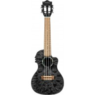 Lanikai QM-BKCEC Black Quilted Maple Cutaway Electric Acoustic Concert Ukul