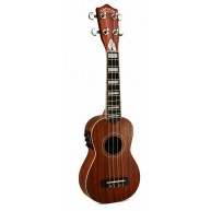 Lanikai LMU-S Soprano Mahogany Acoustic Electric Ukulele with USB Connectiv