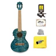 Lanikai QM-BLCET Blue Quilt Maple Electric Acoustic Tenor Ukulele, Snark Bu