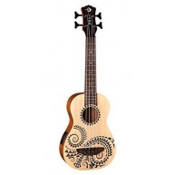 Luna 4-String Acoustic Electric Ukulele Bass, Etched Tattoo Design UKE BASS