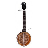 "Luna UKE B8 ULU Traditional Laser Etched Design Banjo Ukulele, 8"" Head Banj"