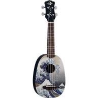 Luna Model Great Wave Graphic Soprano Size Acoustic Ukulele with Gig Bag